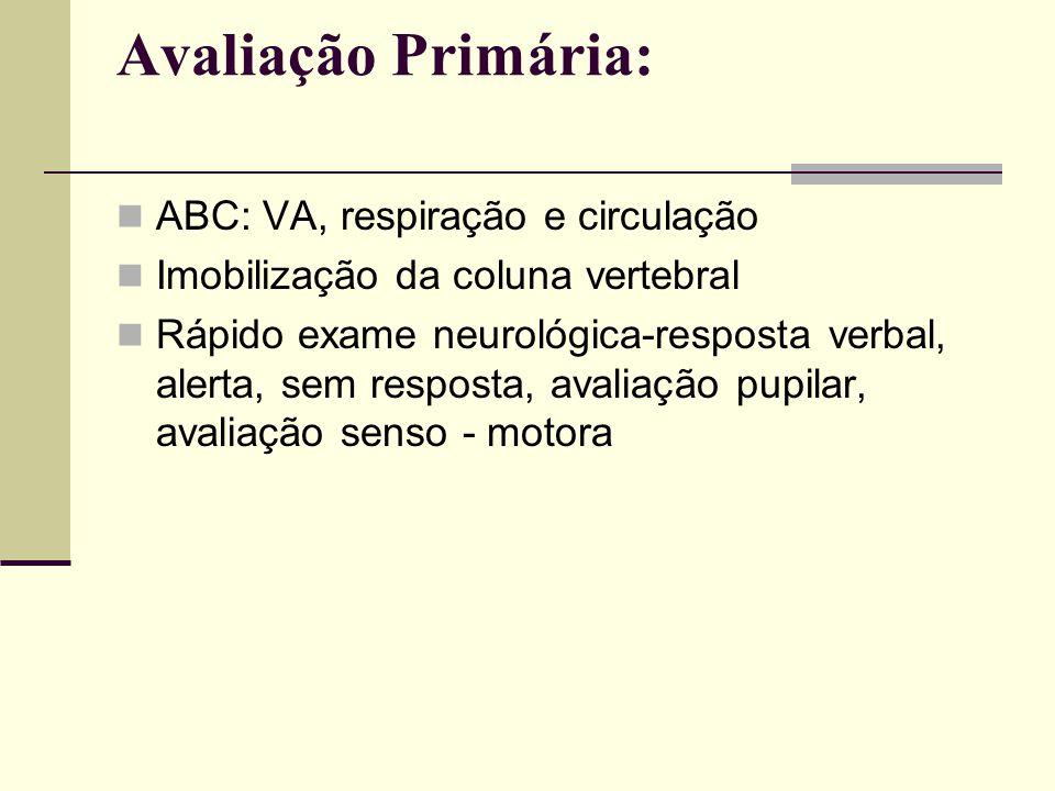 Avaliação Primária: ABC: VA, respiração e circulação Imobilização da coluna vertebral Rápido exame neurológica-resposta verbal, alerta, sem resposta,