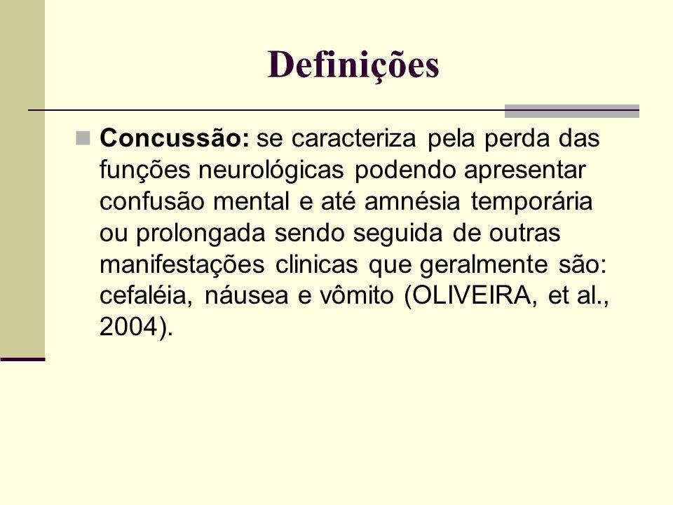 Definições Concussão: se caracteriza pela perda das funções neurológicas podendo apresentar confusão mental e até amnésia temporária ou prolongada sen