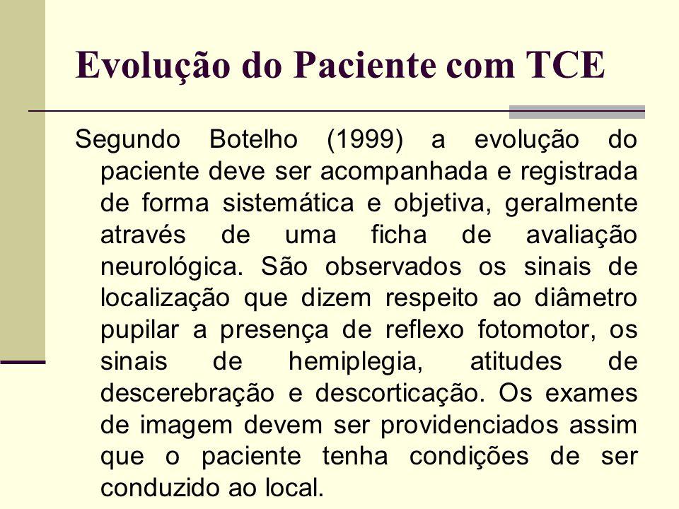 Evolução do Paciente com TCE Segundo Botelho (1999) a evolução do paciente deve ser acompanhada e registrada de forma sistemática e objetiva, geralmen
