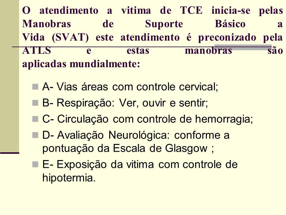 O atendimento a vitima de TCE inicia-se pelas Manobras de Suporte Básico a Vida (SVAT) este atendimento é preconizado pela ATLS e estas manobras são a