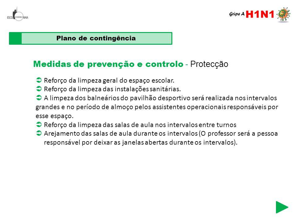 Medidas de prevenção e controlo - Protecção Plano de contingência  Reforço da limpeza geral do espaço escolar.  Reforço da limpeza das instalações s