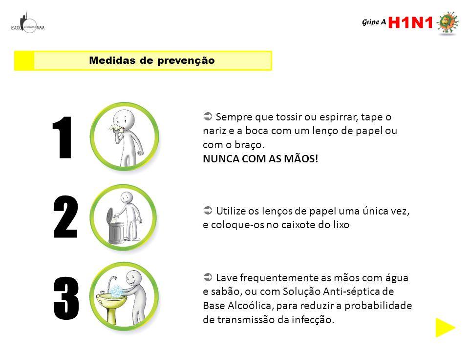 Medidas de prevenção 1  Sempre que tossir ou espirrar, tape o nariz e a boca com um lenço de papel ou com o braço. NUNCA COM AS MÃOS! 2  Utilize os
