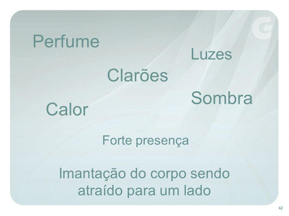 42 Perfume Calor Luzes Clarões Sombra Imantação do corpo sendo atraído para um lado Forte presença
