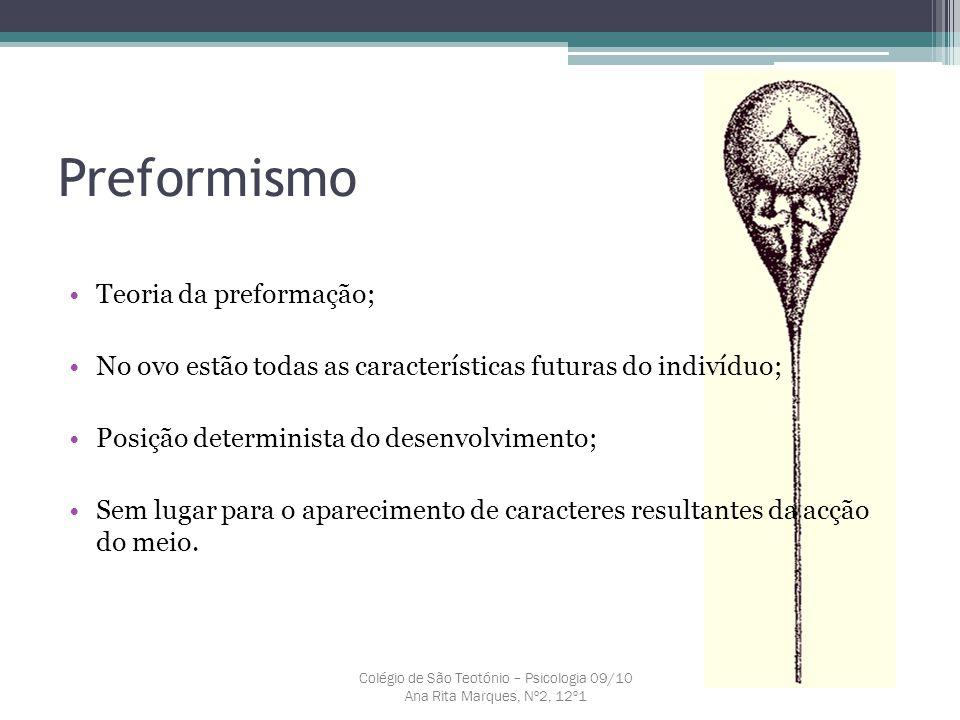 Preformismo Teoria da preformação; No ovo estão todas as características futuras do indivíduo; Posição determinista do desenvolvimento; Sem lugar para