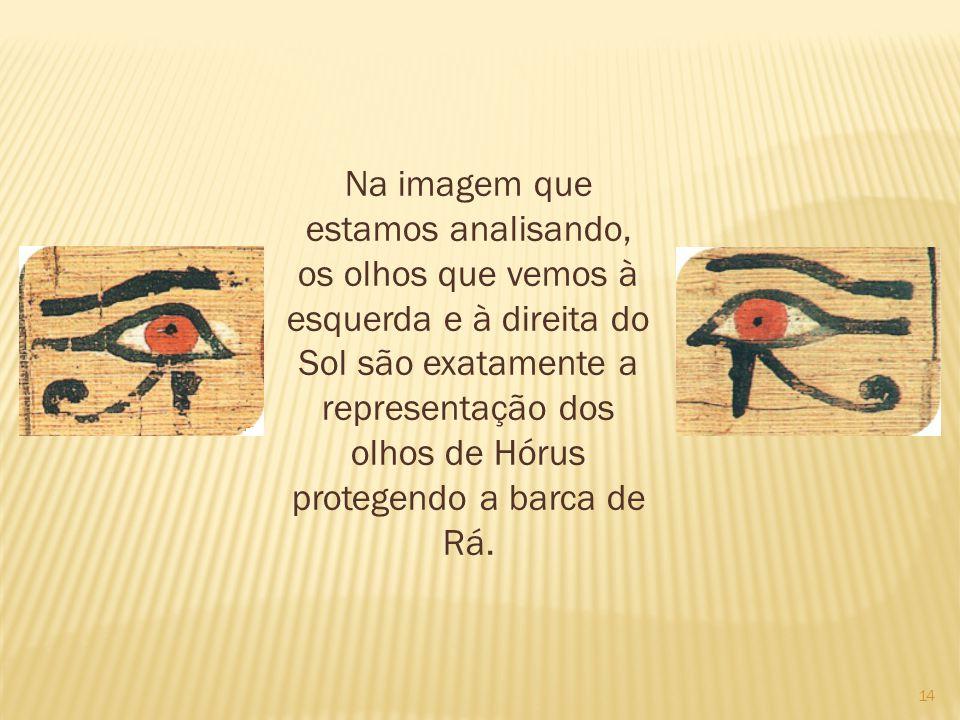 14 Na imagem que estamos analisando, os olhos que vemos à esquerda e à direita do Sol são exatamente a representação dos olhos de Hórus protegendo a barca de Rá.
