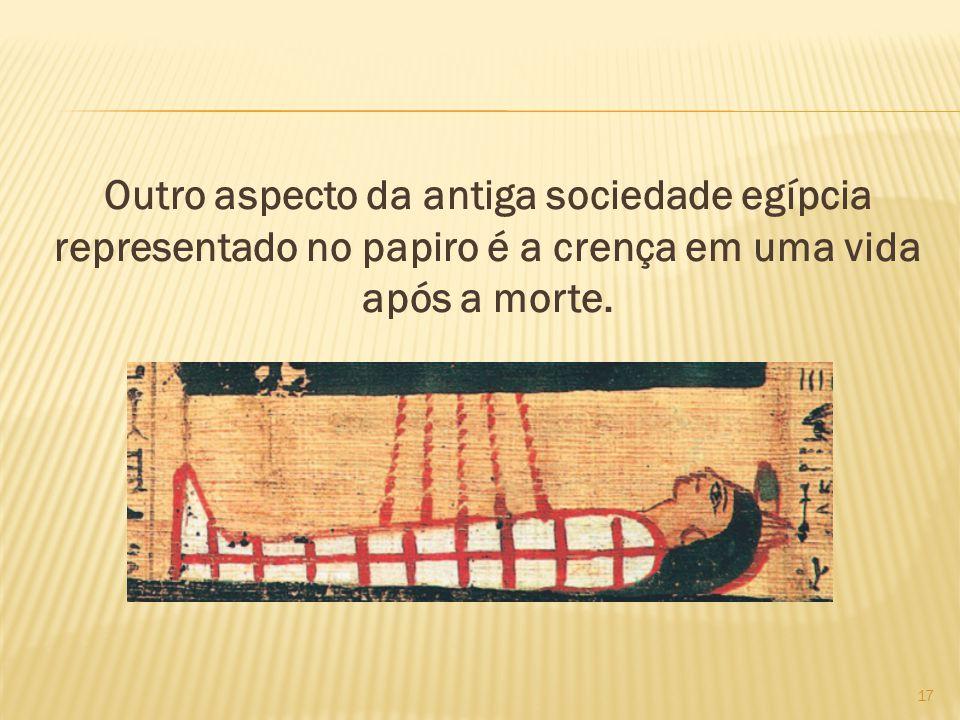 Outro aspecto da antiga sociedade egípcia representado no papiro é a crença em uma vida após a morte. 17