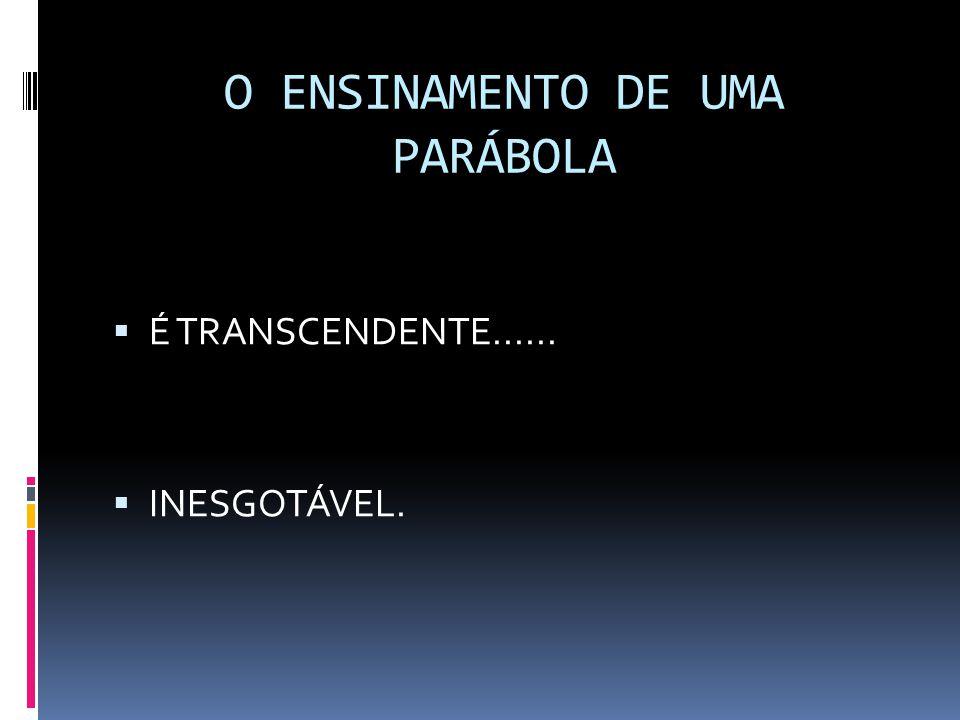 O ENSINAMENTO DE UMA PARÁBOLA  É TRANSCENDENTE......  INESGOTÁVEL.