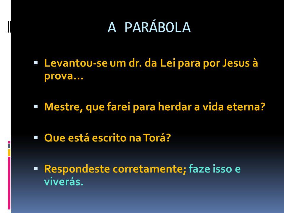 A PARÁBOLA  Levantou-se um dr. da Lei para por Jesus à prova...  Mestre, que farei para herdar a vida eterna?  Que está escrito na Torá?  Responde