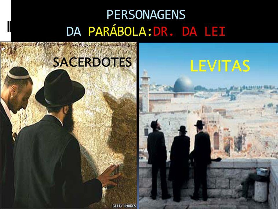 PERSONAGENS DA PARÁBOLA:DR. DA LEI SACERDOTES LEVITAS