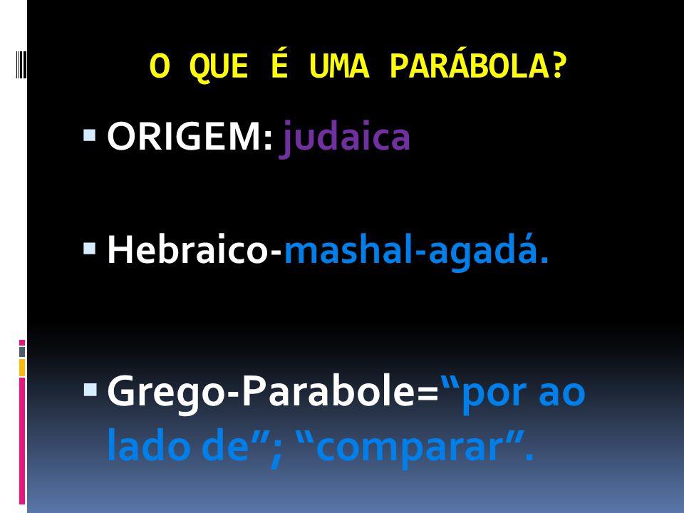 """O QUE É UMA PARÁBOLA?  ORIGEM: judaica  Hebraico-mashal-agadá.  Grego-Parabole=""""por ao lado de""""; """"comparar""""."""