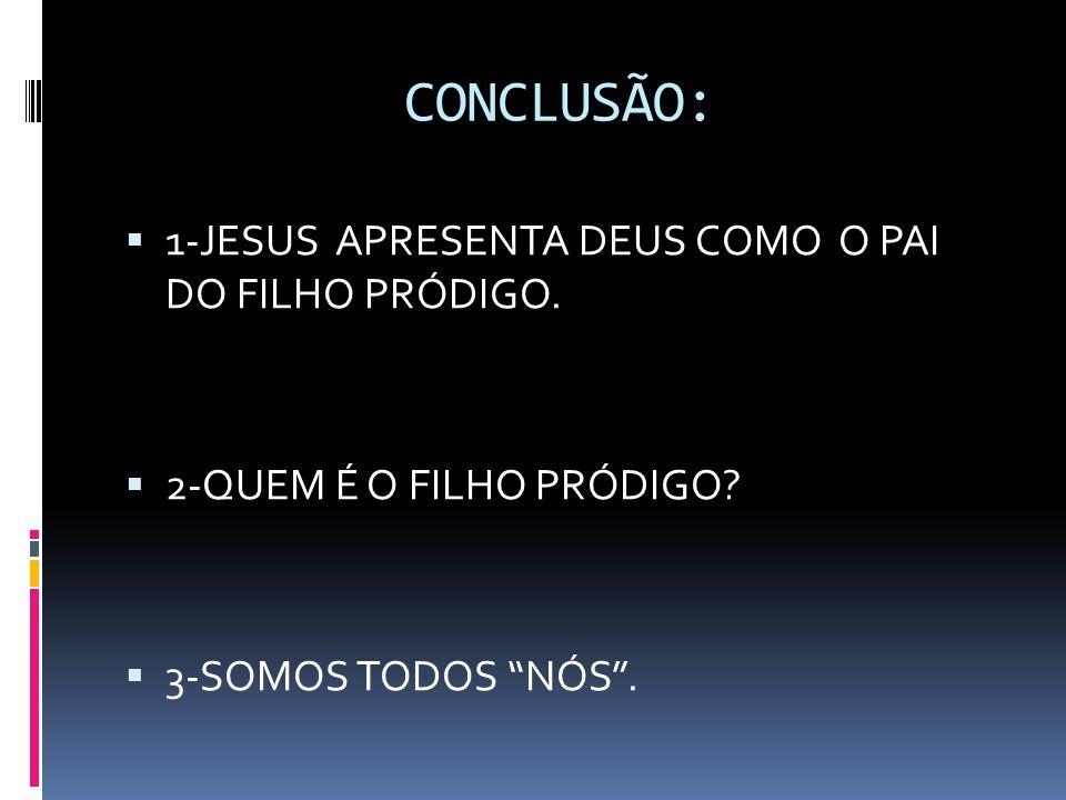 """CONCLUSÃO:  1-JESUS APRESENTA DEUS COMO O PAI DO FILHO PRÓDIGO.  2-QUEM É O FILHO PRÓDIGO?  3-SOMOS TODOS """"NÓS""""."""