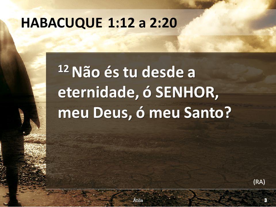 HABACUQUE 1:12 a 2:20 12 Não és tu desde a eternidade, ó SENHOR, meu Deus, ó meu Santo? (RA) Átila 3