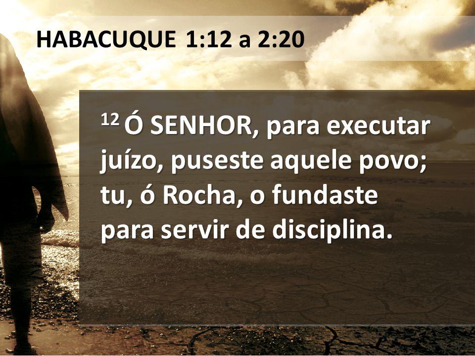 12 Ó SENHOR, para executar juízo, puseste aquele povo; tu, ó Rocha, o fundaste para servir de disciplina. HABACUQUE 1:12 a 2:20