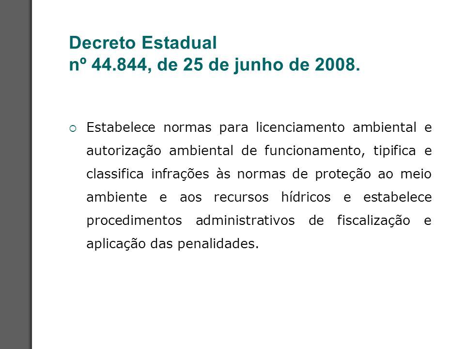 Decreto Estadual nº 44.844, de 25 de junho de 2008.  Estabelece normas para licenciamento ambiental e autorização ambiental de funcionamento, tipific