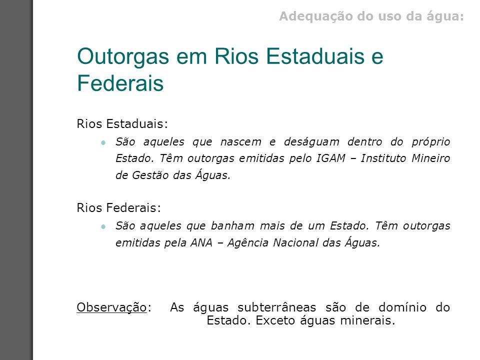 Outorgas em Rios Estaduais e Federais Rios Estaduais: São aqueles que nascem e deságuam dentro do próprio Estado. Têm outorgas emitidas pelo IGAM – In