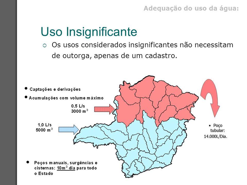 Uso Insignificante  Os usos considerados insignificantes não necessitam de outorga, apenas de um cadastro. Adequação do uso da água: