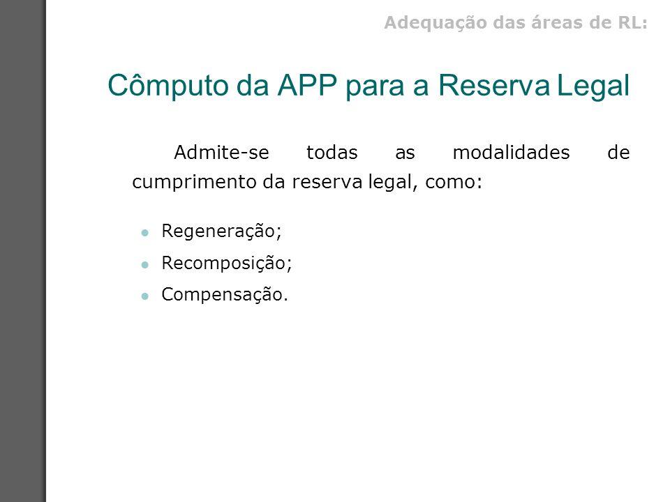 Cômputo da APP para a Reserva Legal Admite-se todas as modalidades de cumprimento da reserva legal, como: Regeneração; Recomposição; Compensação. Adeq
