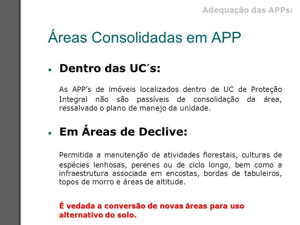 Áreas Consolidadas em APP Dentro das UC´s: As APP's de imóveis localizados dentro de UC de Proteção Integral não são passíveis de consolidação da área