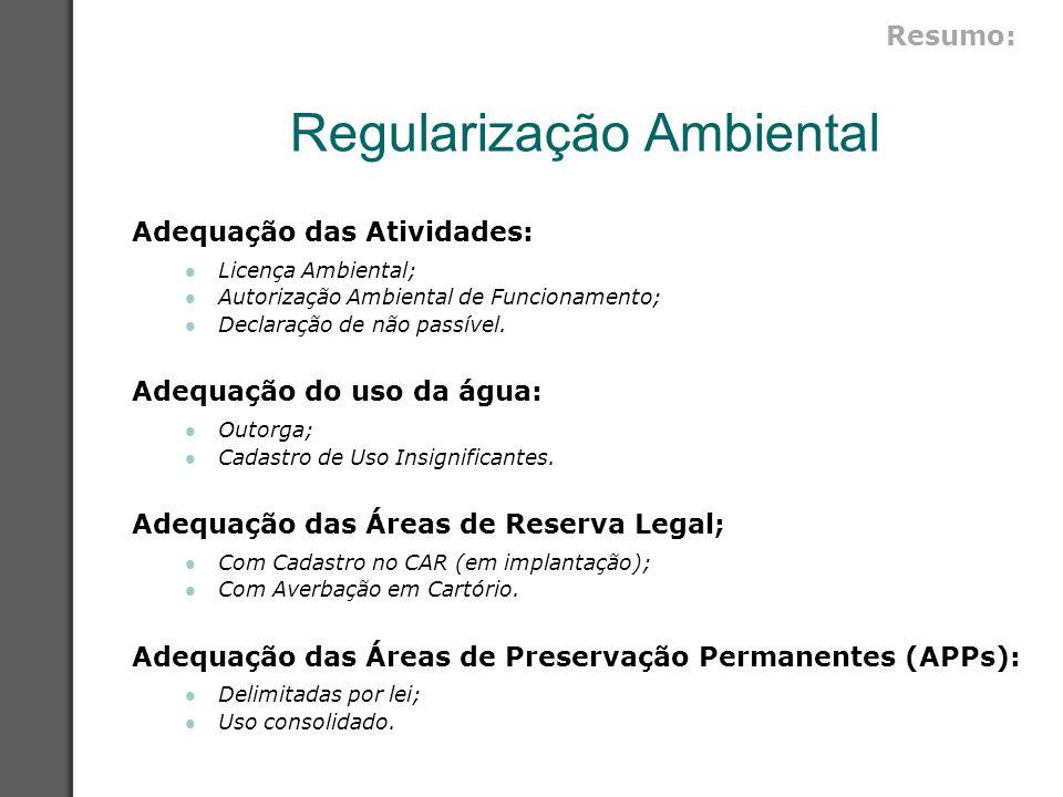 Regularização Ambiental Adequação das Atividades: Licença Ambiental; Autorização Ambiental de Funcionamento; Declaração de não passível. Adequação do