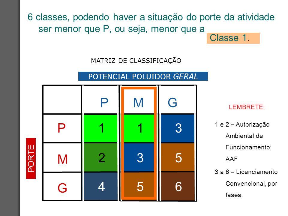 MATRIZ DE CLASSIFICAÇÃO 6 classes, podendo haver a situação do porte da atividade ser menor que P, ou seja, menor que a Classe 1. LEMBRETE: 1 e 2 – Au