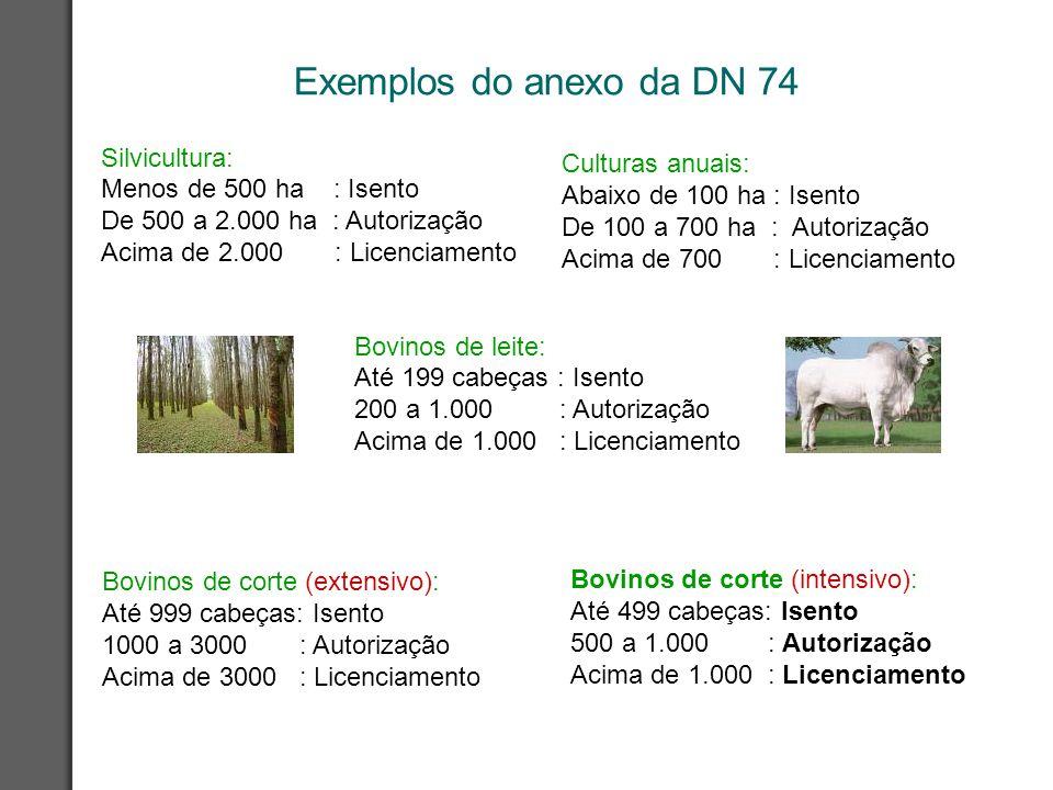 Exemplos do anexo da DN 74 Silvicultura: Menos de 500 ha : Isento De 500 a 2.000 ha : Autorização Acima de 2.000 : Licenciamento Bovinos de corte (int