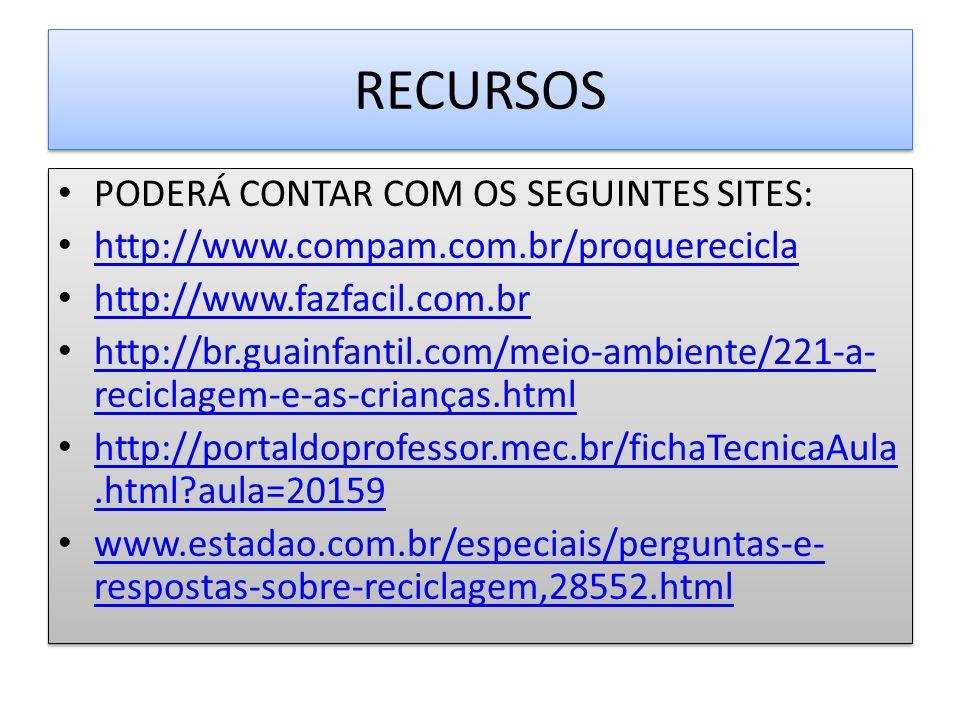 PODERÁ CONTAR COM OS SEGUINTES SITES: http://www.compam.com.br/proquerecicla http://www.fazfacil.com.br http://br.guainfantil.com/meio-ambiente/221-a-