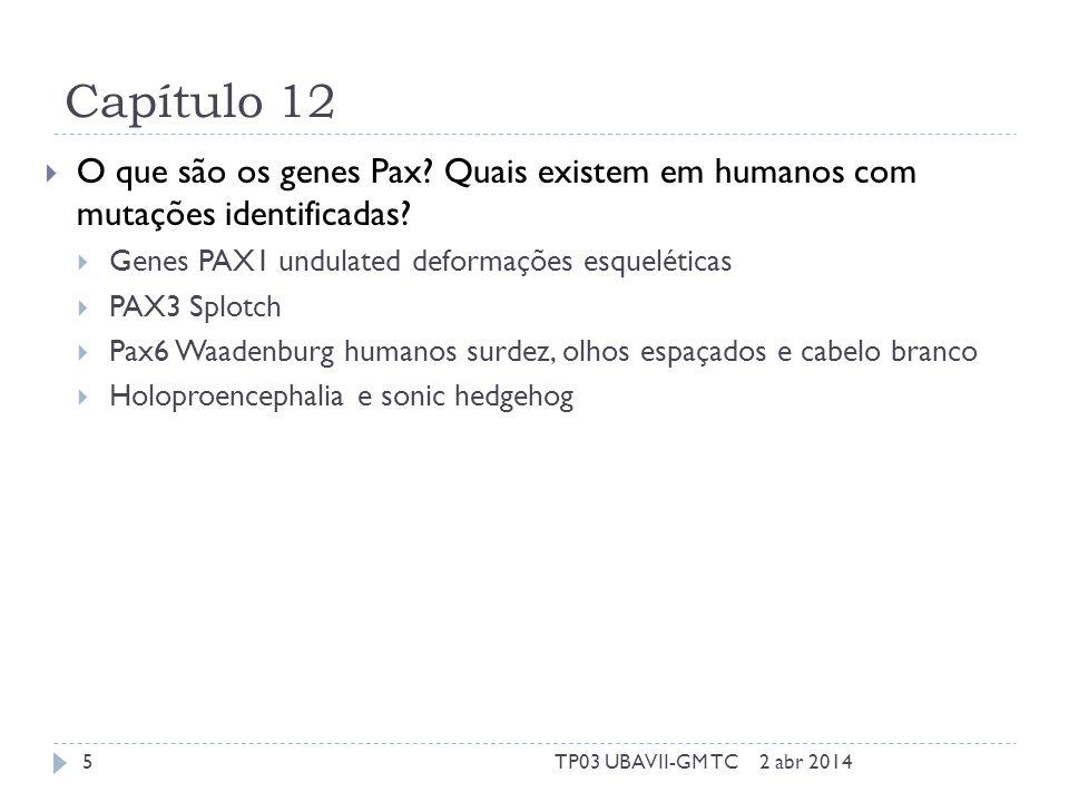 Capítulo 12  O que são os genes Pax. Quais existem em humanos com mutações identificadas.