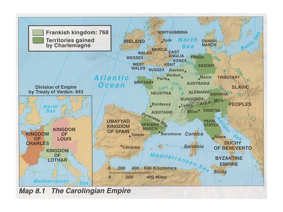 O reino dos Francos A Dinastia Carolíngia –O filho de Carlos Martel, Pepino, o Breve, destronou, com o apoio do Papa Zacarias, tornando-se rei de uma