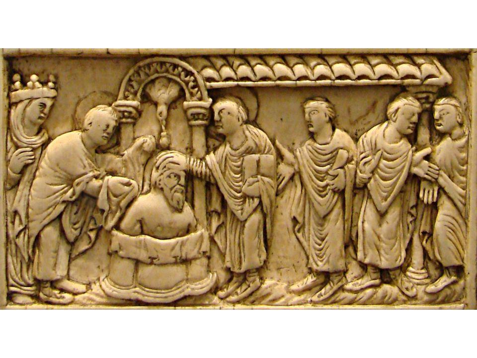 A conversão de Clóvis (496) A rainha não parou de instá-lo a reconhecer o Deus verdadeiro e cessar de adorar ídolos. Mas ele não podia ser influenciad
