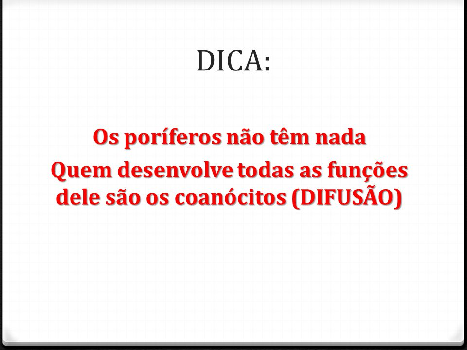 DICA: Os poríferos não têm nada Quem desenvolve todas as funções dele são os coanócitos (DIFUSÃO)