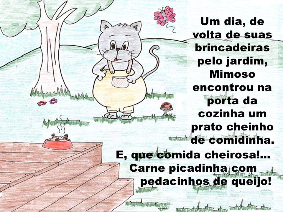Um dia, de volta de suas brincadeiras pelo jardim, Mimoso encontrou na porta da cozinha um prato cheinho de comidinha. E, que comida cheirosa!... Carn