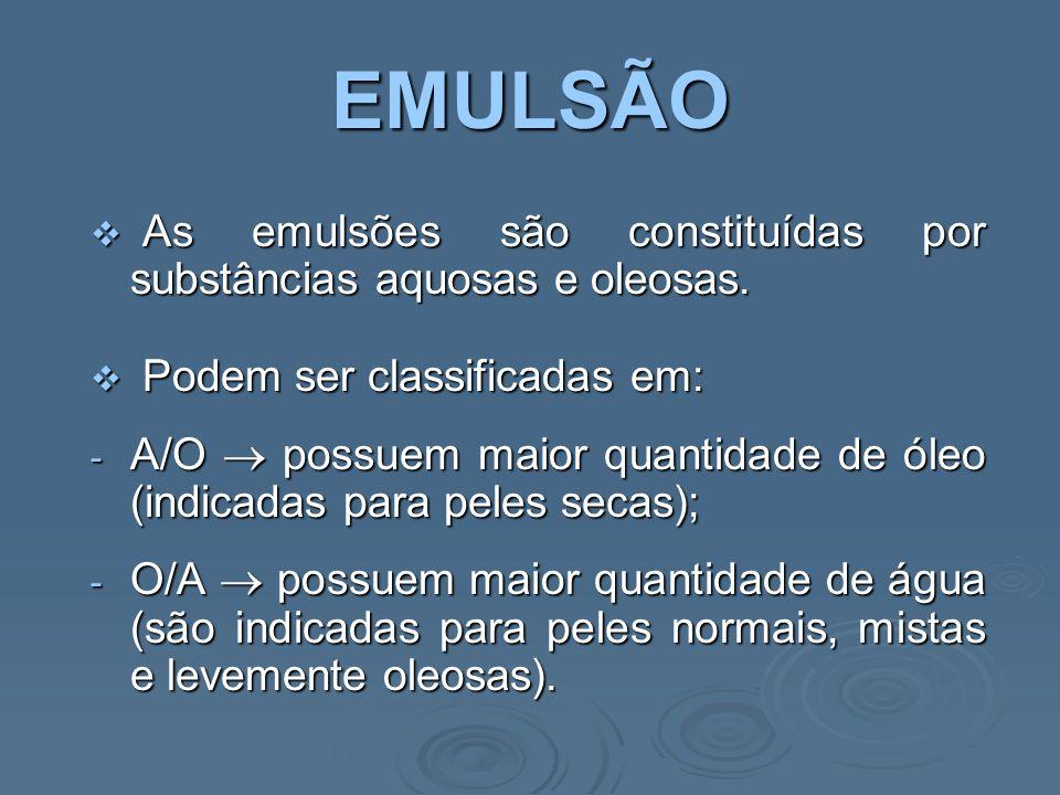 EMULSÃO  Ainda podem ser classificadas em: - Consistentes  cremes O/A ou A/O.
