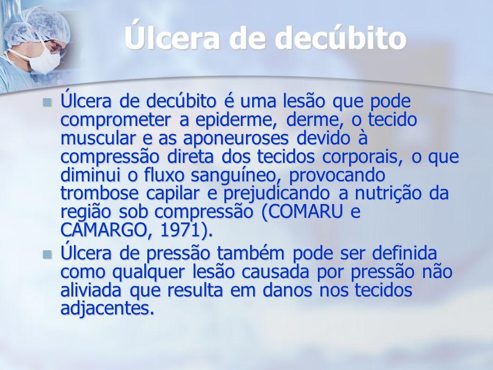 Úlcera de decúbito Úlcera de decúbito é uma lesão que pode comprometer a epiderme, derme, o tecido muscular e as aponeuroses devido à compressão diret