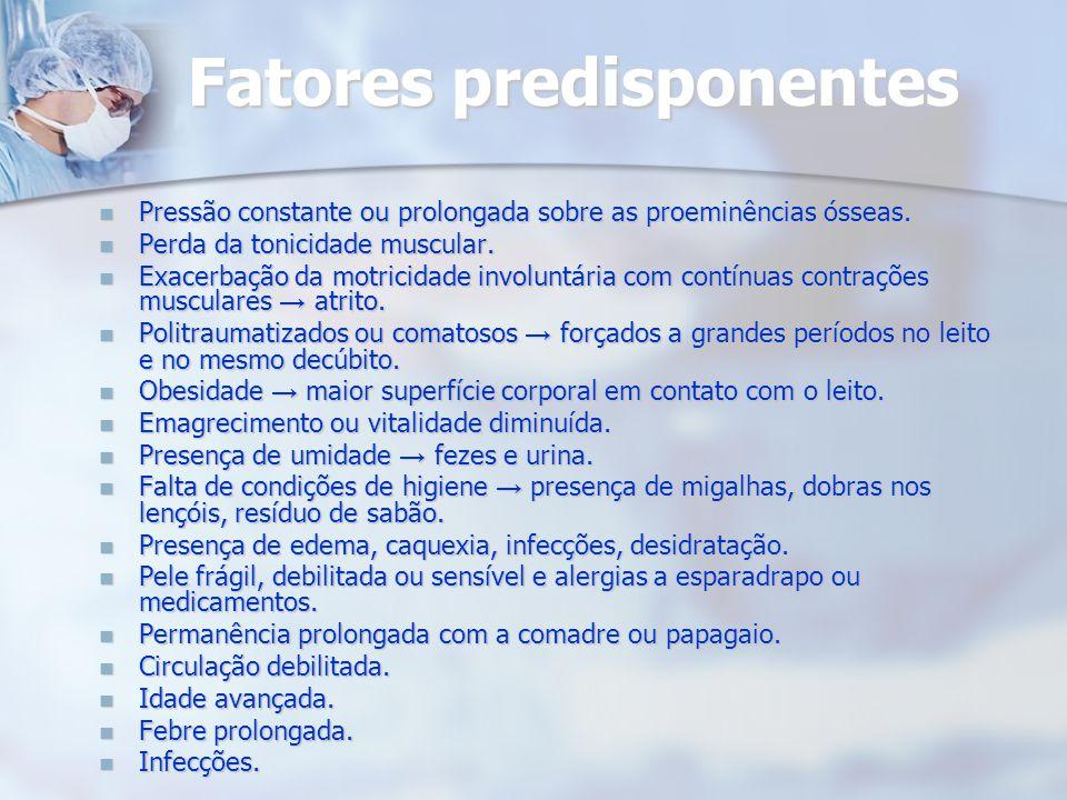 Fatores predisponentes Pressão constante ou prolongada sobre as proeminências ósseas. Pressão constante ou prolongada sobre as proeminências ósseas. P