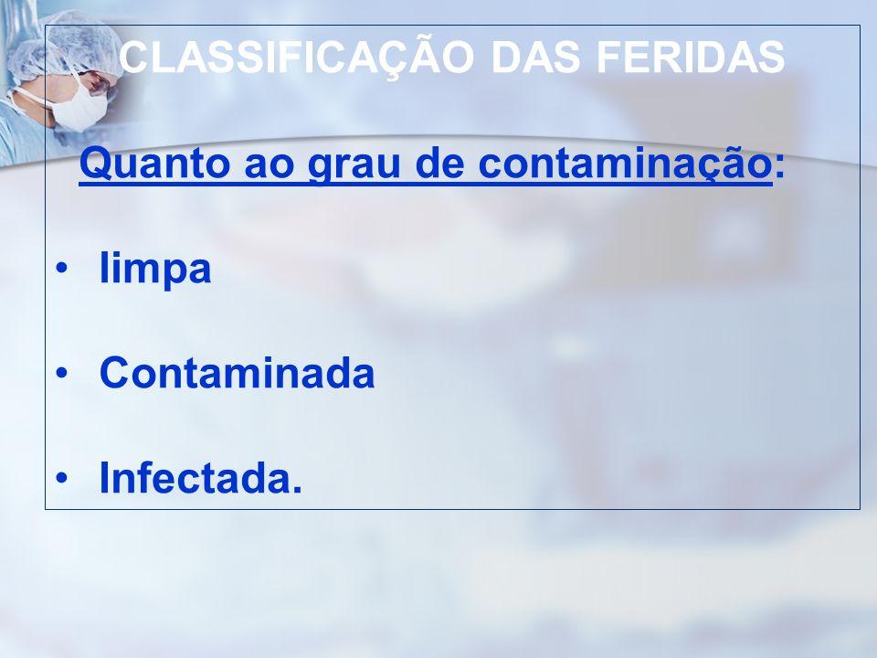 CLASSIFICAÇÃO DAS FERIDAS Quanto ao grau de contaminação: limpa Contaminada Infectada.
