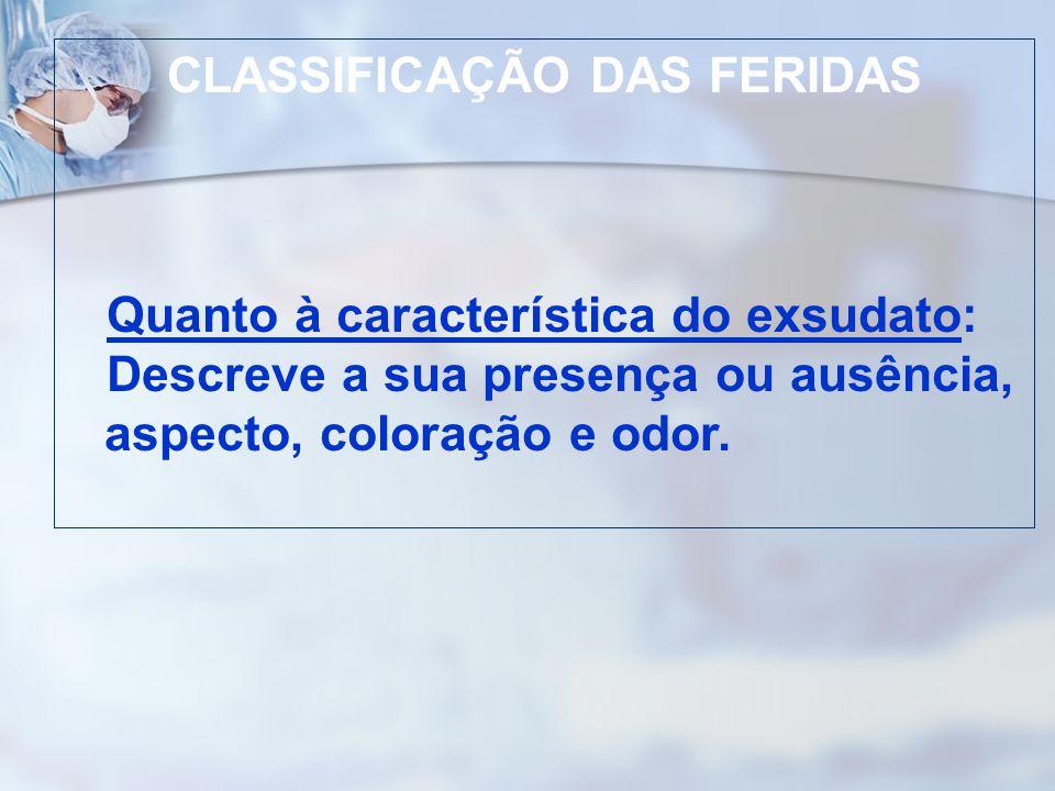 CLASSIFICAÇÃO DAS FERIDAS Quanto à característica do exsudato: Descreve a sua presença ou ausência, aspecto, coloração e odor.