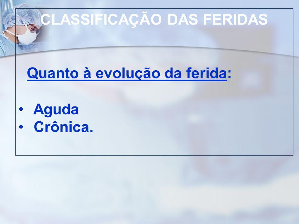 CLASSIFICAÇÃO DAS FERIDAS Quanto à evolução da ferida: Aguda Crônica.
