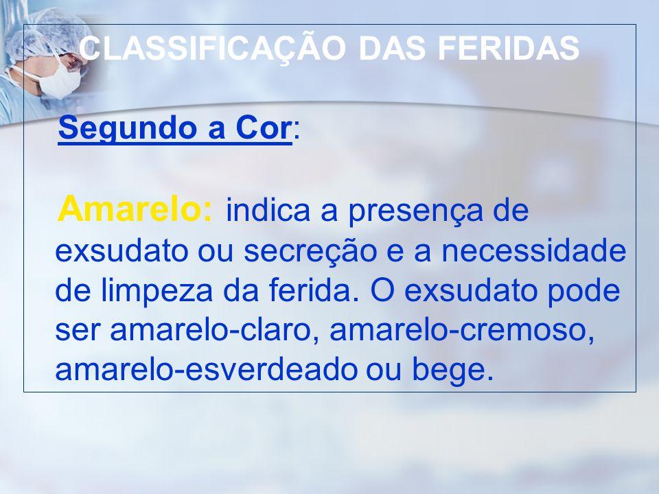 CLASSIFICAÇÃO DAS FERIDAS Segundo a Cor: Amarelo: indica a presença de exsudato ou secreção e a necessidade de limpeza da ferida. O exsudato pode ser