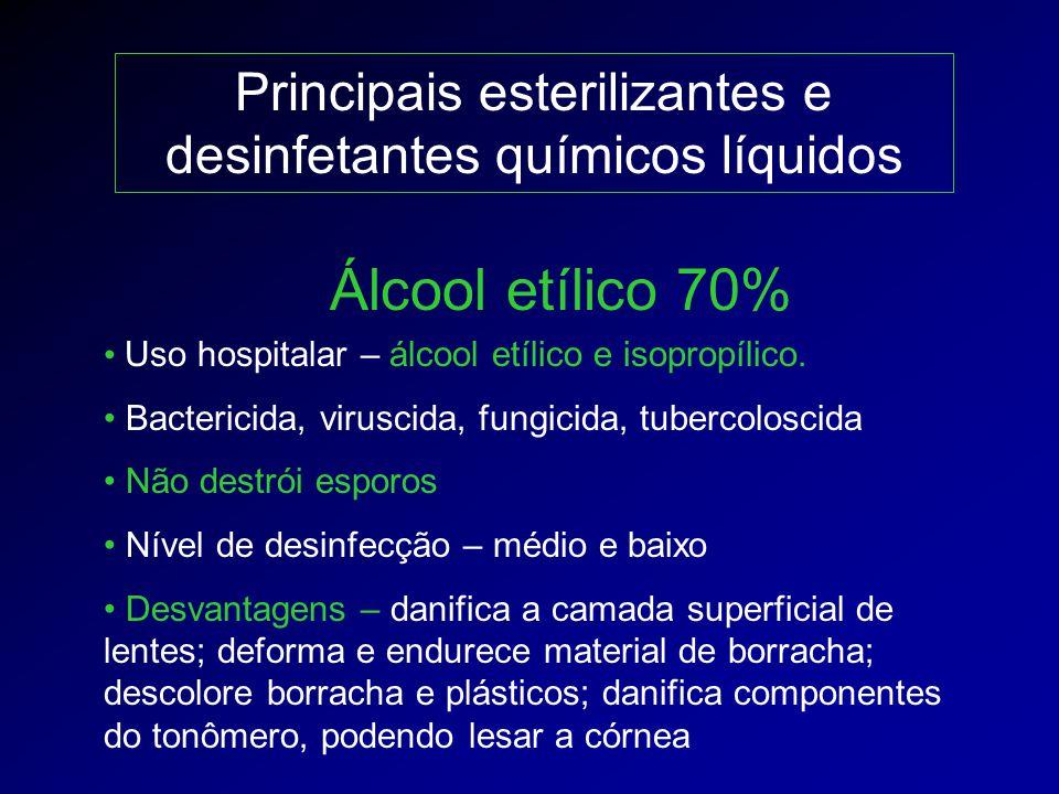 Principais esterilizantes e desinfetantes químicos líquidos Uso hospitalar – álcool etílico e isopropílico. Bactericida, viruscida, fungicida, tuberco