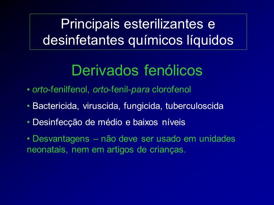 Principais esterilizantes e desinfetantes químicos líquidos orto-fenilfenol, orto-fenil-para clorofenol Bactericida, viruscida, fungicida, tuberculosc