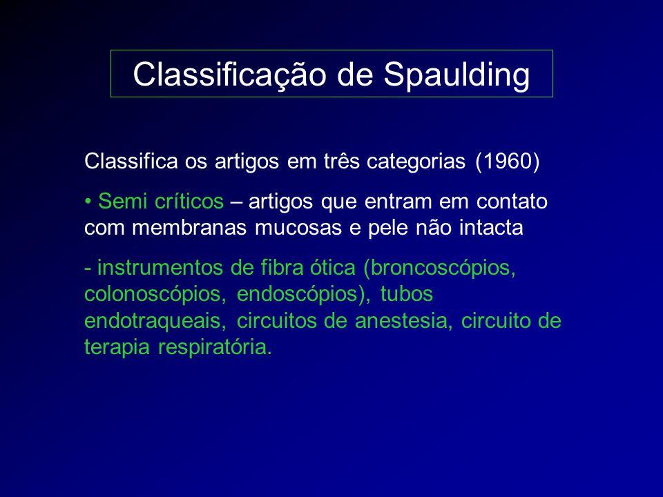 Classificação de Spaulding Classifica os artigos em três categorias (1960) Não críticos – artigos que entram em contato com pele íntegra - estetoscópios, otoscópios, utensílios de refeição, roupas, eletroencefalógrafos, muletas.