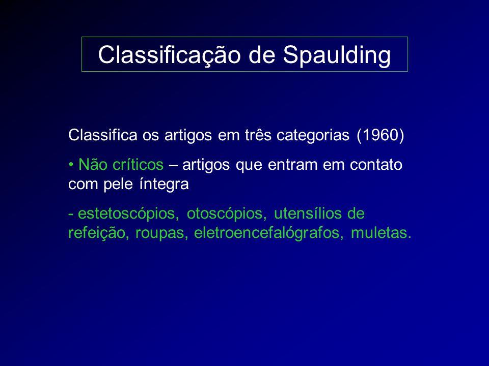 Classificação de Spaulding Classifica os artigos em três categorias (1960) Não críticos – artigos que entram em contato com pele íntegra - estetoscópi