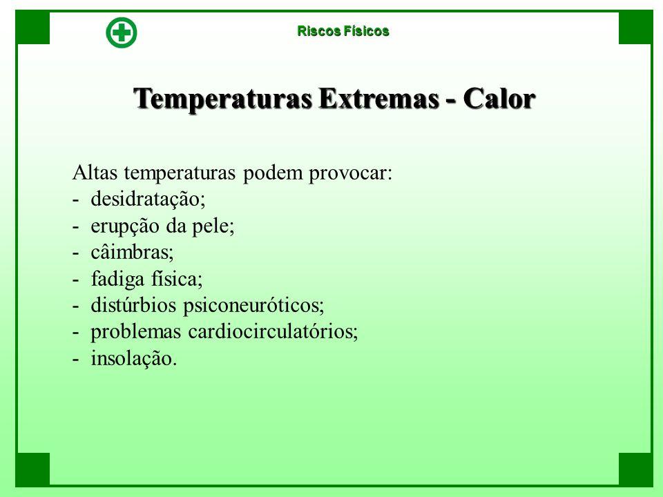 Temperaturas Extremas - Calor Riscos Físicos Altas temperaturas podem provocar: - desidratação; - erupção da pele; - câimbras; - fadiga física; - dist