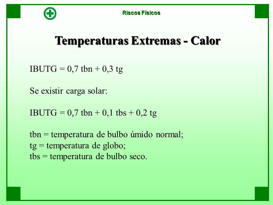 Temperaturas Extremas - Calor Riscos Físicos IBUTG = 0,7 tbn + 0,3 tg Se existir carga solar: IBUTG = 0,7 tbn + 0,1 tbs + 0,2 tg tbn = temperatura de