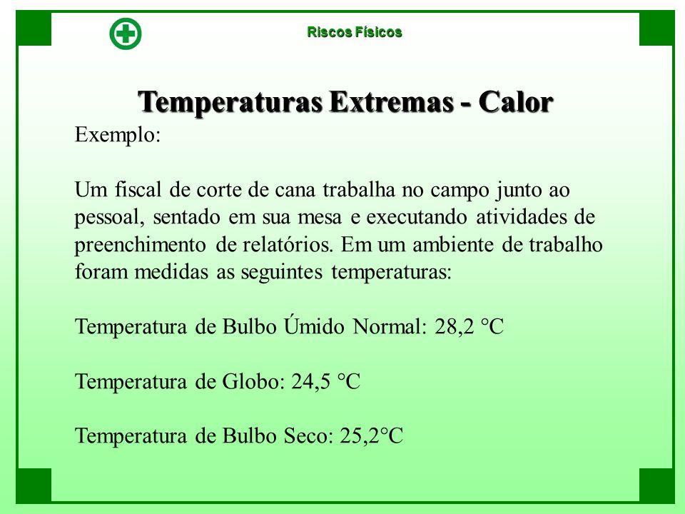 Temperaturas Extremas - Calor Riscos Físicos Exemplo: Um fiscal de corte de cana trabalha no campo junto ao pessoal, sentado em sua mesa e executando