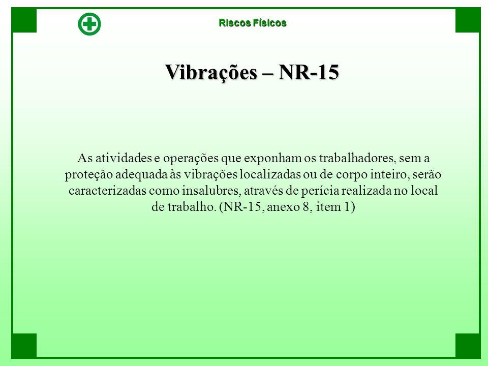 Vibrações – NR-15 As atividades e operações que exponham os trabalhadores, sem a proteção adequada às vibrações localizadas ou de corpo inteiro, serão