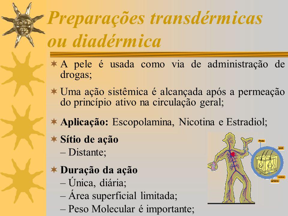 Características do veículo que influenciam a permeação/penetração:  Solubilidade do fármaco no veículo e promotores de penetração  Viscosidade  Composição do veículo (aquosos ou não-aquosos)  Espessura de epiderme: –na pele hiperqueratósica, por exemplo, a permeabilidade é dificultada.