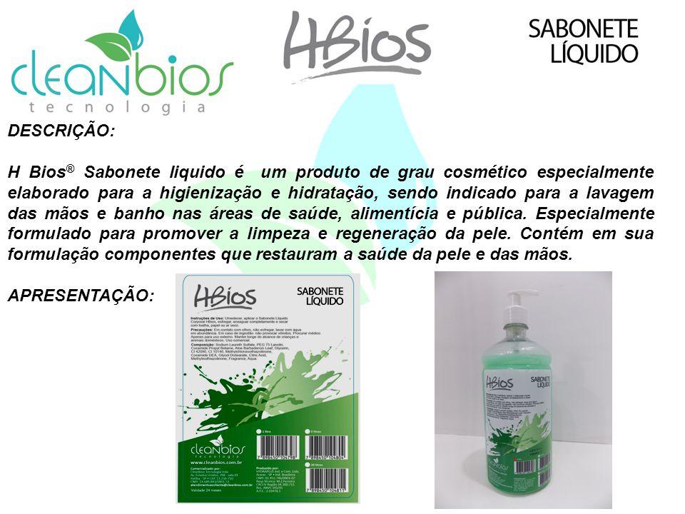 DESCRIÇÃO: H Bios ® Sabonete liquido é um produto de grau cosmético especialmente elaborado para a higienização e hidratação, sendo indicado para a la