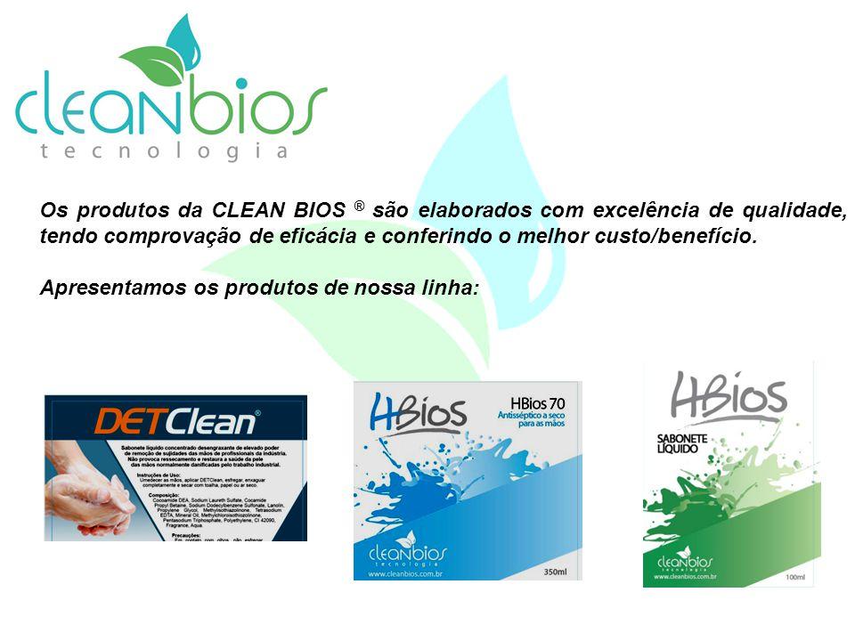 Os produtos da CLEAN BIOS ® são elaborados com excelência de qualidade, tendo comprovação de eficácia e conferindo o melhor custo/benefício. Apresenta