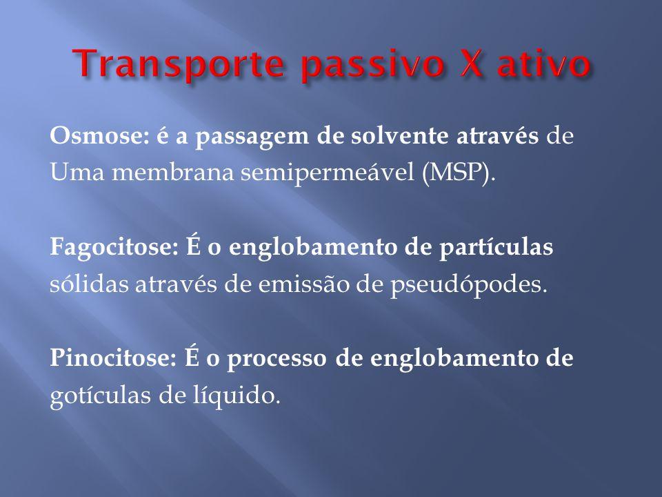 Osmose: é a passagem de solvente através de Uma membrana semipermeável (MSP).